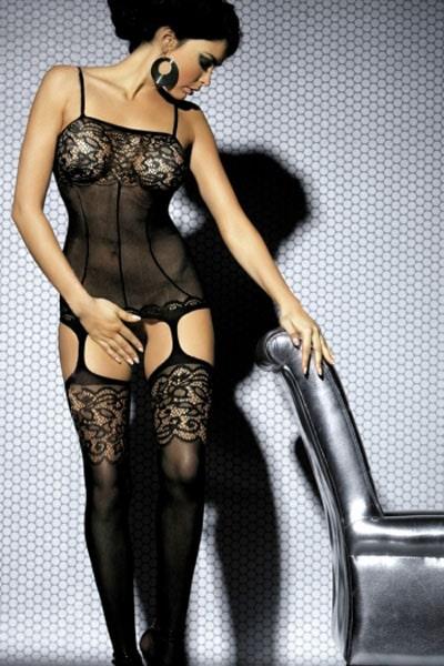 Bodystocking hladký s krajkou a podväzkami, čierny