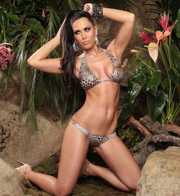 ccPcs Sexy Neck Bikinis with rhinestones Color LEOBEIGE Size Lot 0000ISF18116 1 LEOBEIGE 6 1