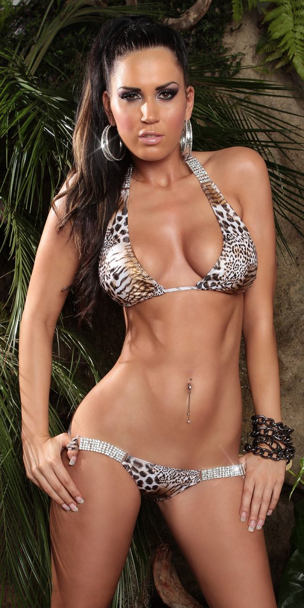 ccPcs Sexy Neck Bikinis with rhinestones Color LEOWHITE Size Lot 0000ISF18116 1 LEOWEISS 8 1