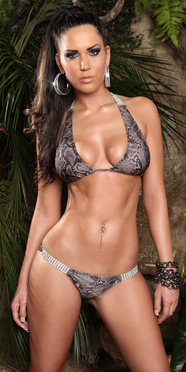 ccPcs Sexy Neck Bikinis with rhinestones Color SNAKE Size Lot 0000ISF18116 1 SNAKE 34 1