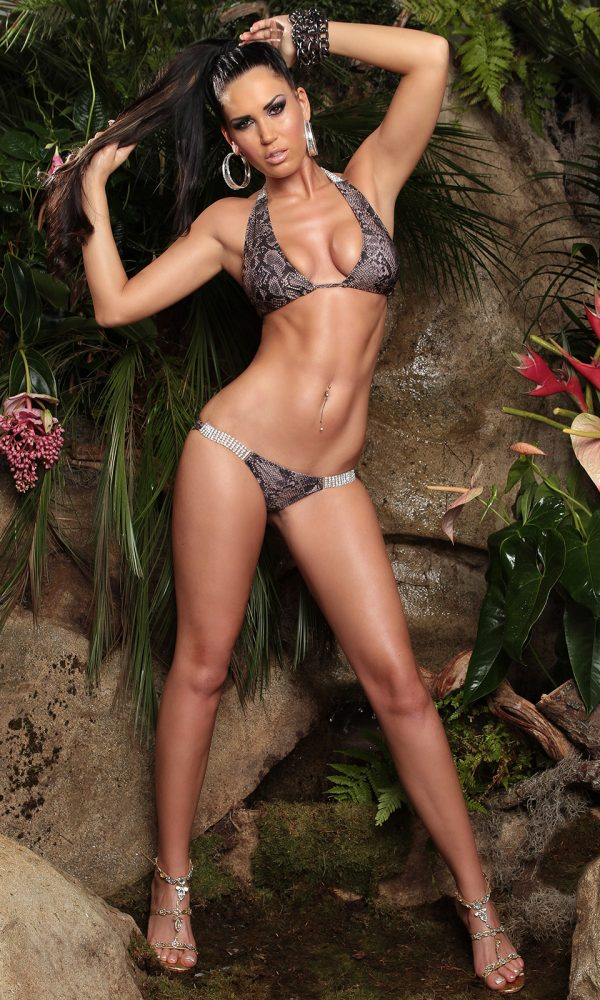 ccPcs Sexy Neck Bikinis with rhinestones Color SNAKE Size Lot 0000ISF18116 1 SNAKE 36 1