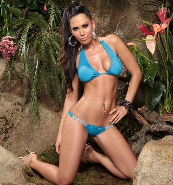 ccPcs Sexy Neck Bikinis with rhinestones Color TURQUOISE Size Lot 0000ISF18116 1 TUERKIS 45 1