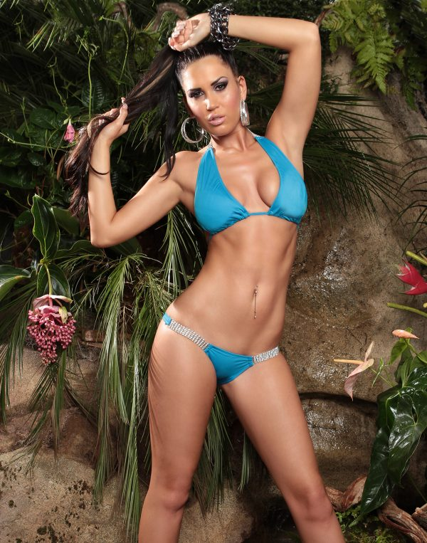 ccPcs Sexy Neck Bikinis with rhinestones Color TURQUOISE Size Lot 0000ISF18116 1 TUERKIS 46 1