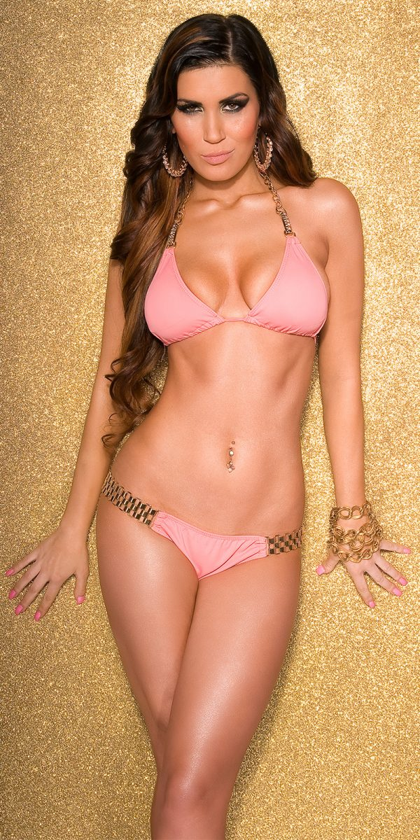 ccPcs Sexy triangle bikini with chain a rhinest Color CORAL Size Lot 0000ISF18153 CORAL 6 1 1