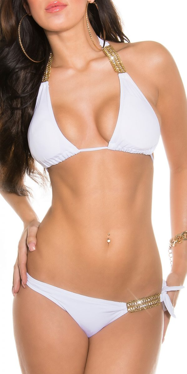 ccpcs Sexy Neck Bikinis with chains Color WHITE Size Lot 0000ISF18106 N WEISS 22