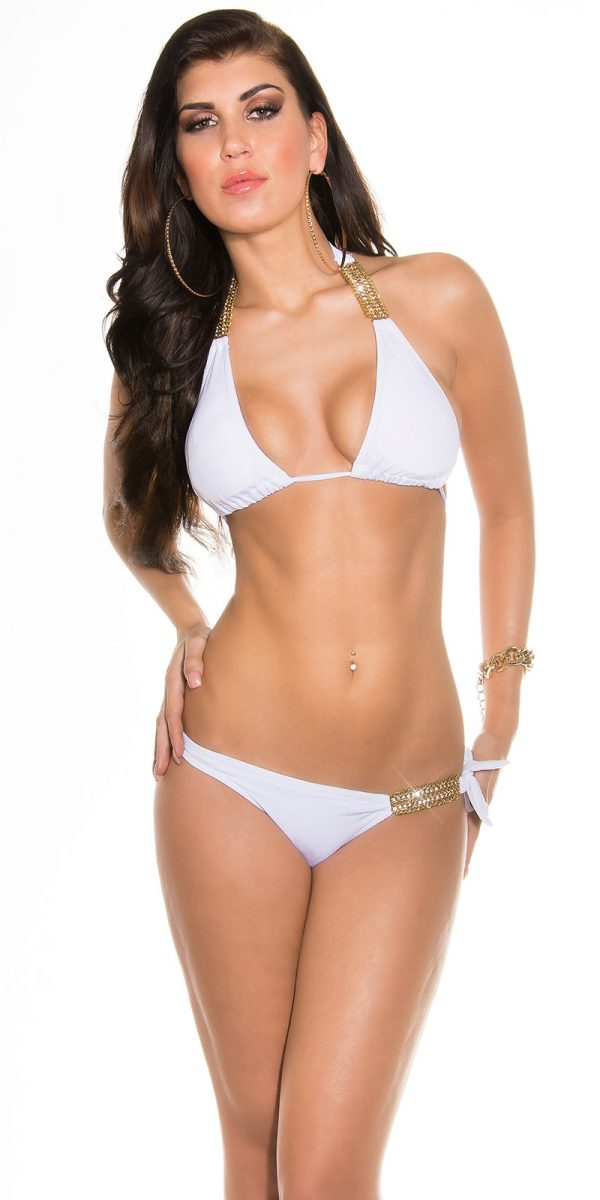 ccpcs Sexy Neck Bikinis with chains Color WHITE Size Lot 0000ISF18106 N WEISS 23