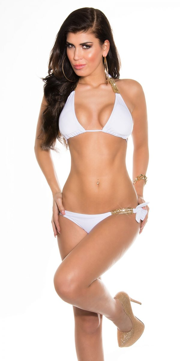 ccpcs Sexy Neck Bikinis with chains Color WHITE Size Lot 0000ISF18106 N WEISS 28