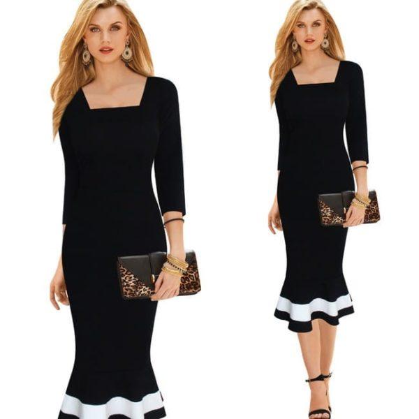 Čierno-biele šaty polodlhé, zvonovité