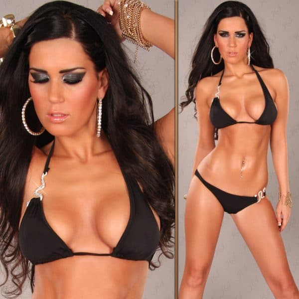 iiPieces Sexy Neckholder Bikini with Snake buckle Color BLACK Size Lot 0000B2164 SCHWARZ 8 1 1