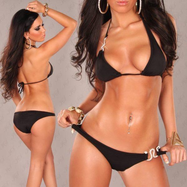 iiPieces Sexy Neckholder Bikini with Snake buckle Color BLACK Size Lot 0000B2164 SCHWARZ 9 1 1