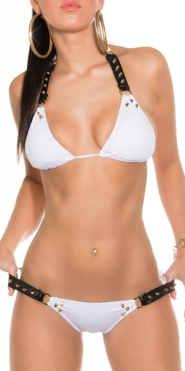 iipieces Sexy studded neck bikini Color WHITE Size Lot 0000ISF18131 N WEISS 25