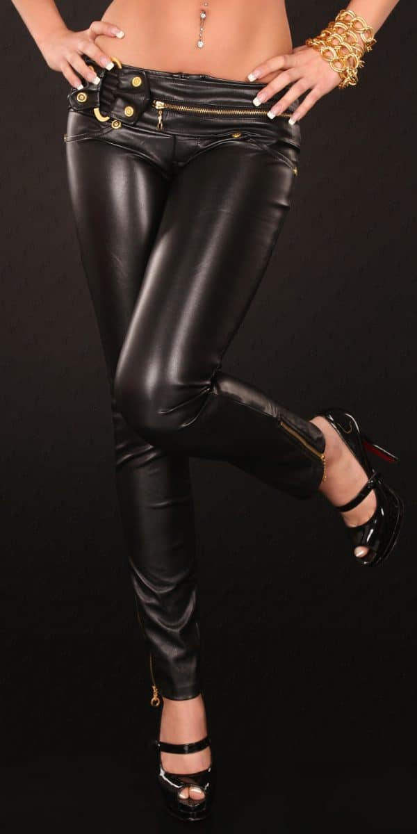 kkSkinnies in Leatherlook with Zip and buckle Color BLACK Size L 0000D70424 SCHWARZ 11 Copy