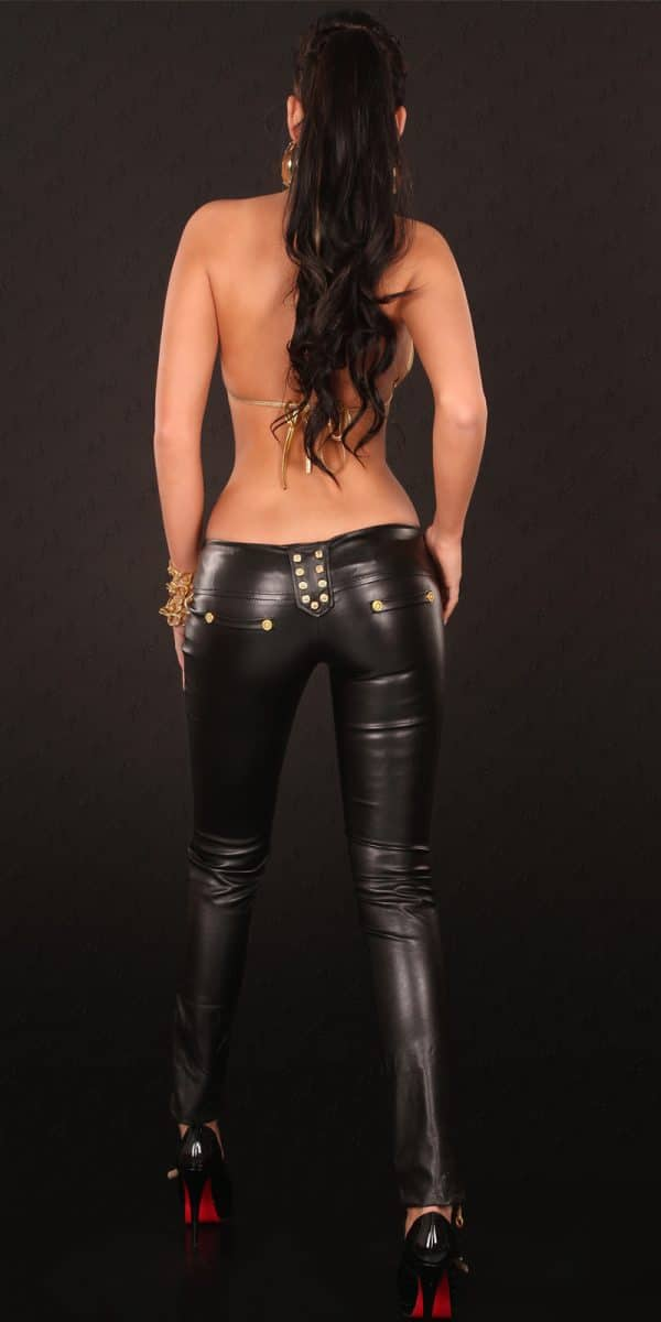 kkSkinnies in Leatherlook with Zip and buckle Color BLACK Size L 0000D70424 SCHWARZ 14 1