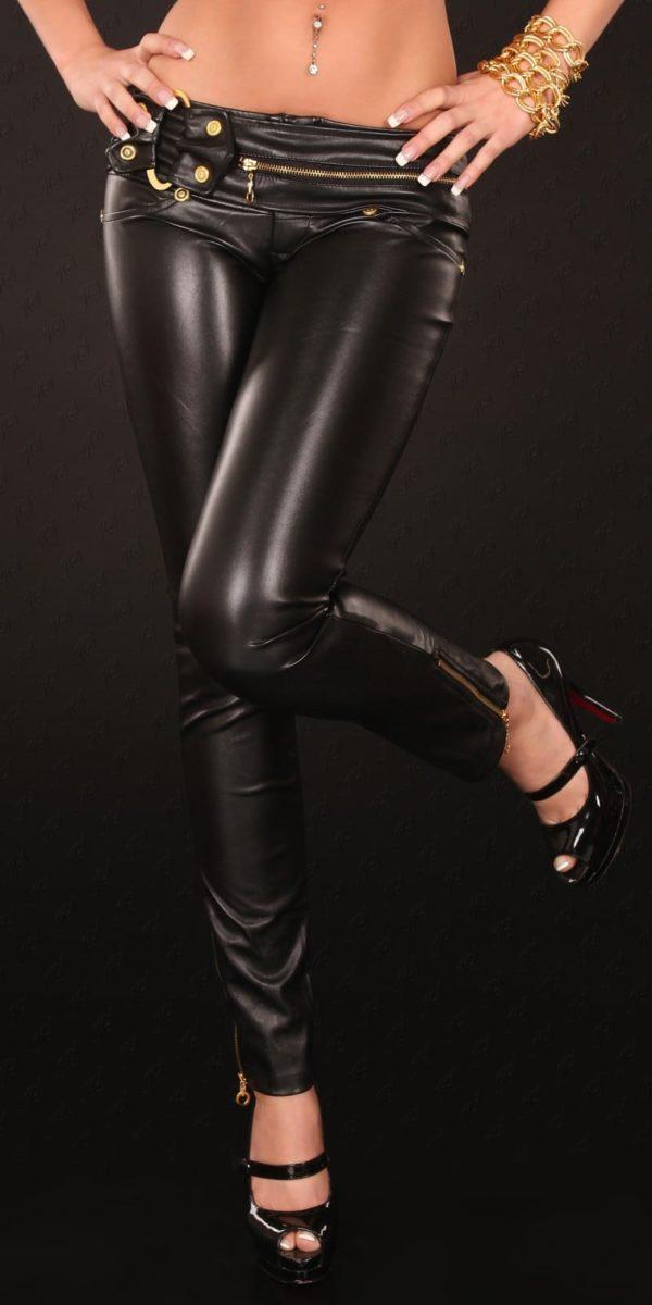 kkSkinnies in Leatherlook with Zip and buckle Color BLACK Size M 0000D70424 SCHWARZ 11 1