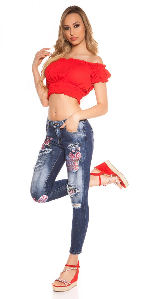 kkSkinny Jeans with Patches Used Look Color JEANSBLUE Size 34 0000J61103 JEANSBLAU 10