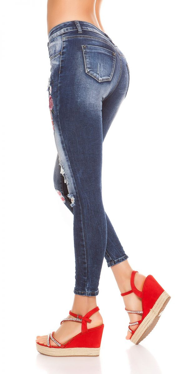 kkSkinny Jeans with Patches Used Look Color JEANSBLUE Size 34 0000J61103 JEANSBLAU 11