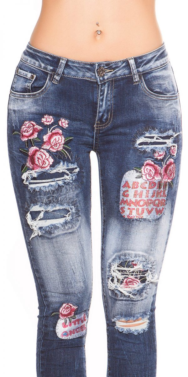 kkSkinny Jeans with Patches Used Look Color JEANSBLUE Size 34 0000J61103 JEANSBLAU 14