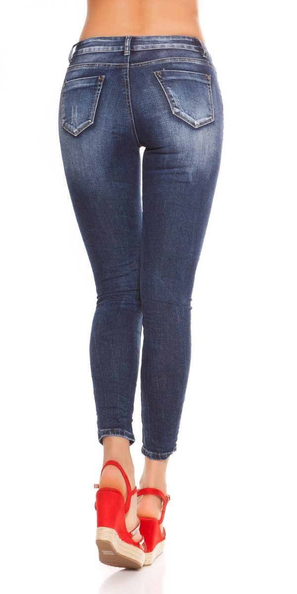 kkSkinny Jeans with Patches Used Look Color JEANSBLUE Size 34 0000J61103 JEANSBLAU 2
