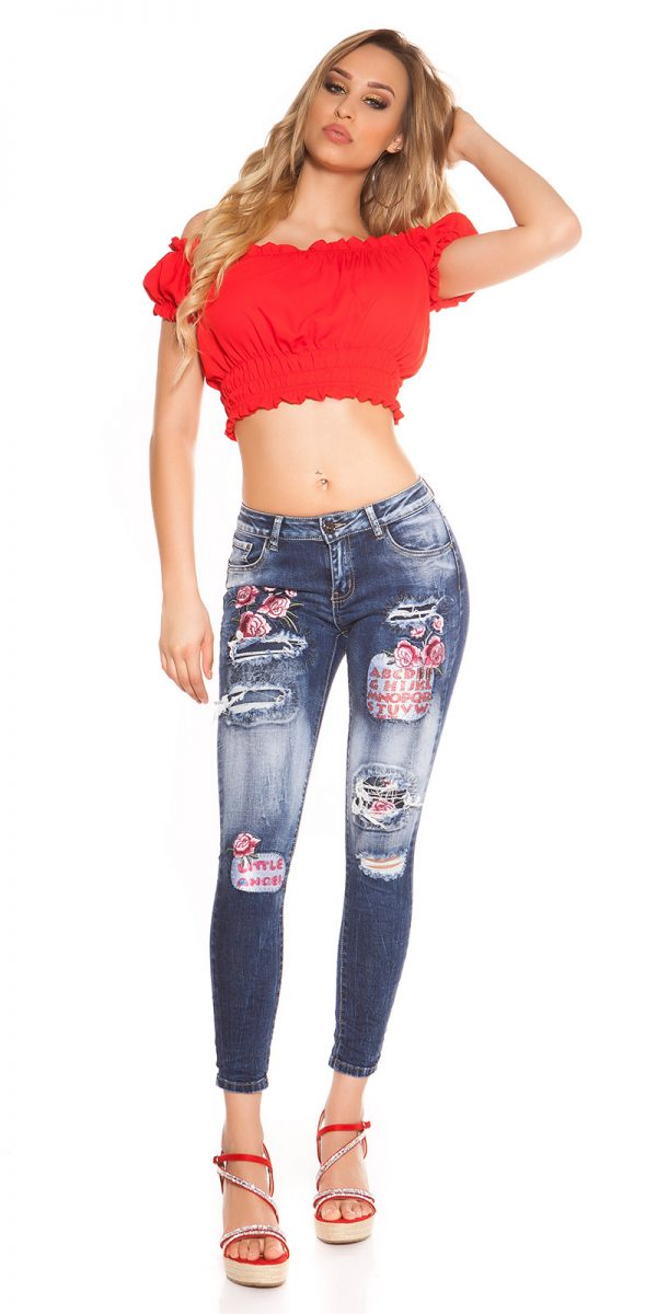kkSkinny Jeans with Patches Used Look Color JEANSBLUE Size 34 0000J61103 JEANSBLAU 3
