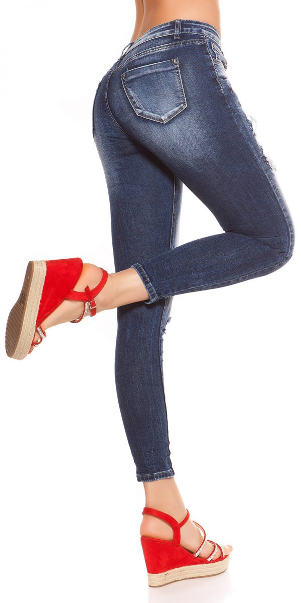 kkSkinny Jeans with Patches Used Look Color JEANSBLUE Size 34 0000J61103 JEANSBLAU 4