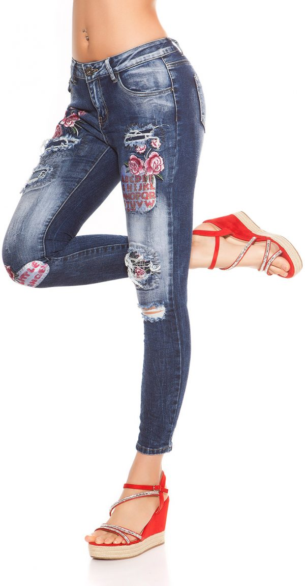 kkSkinny Jeans with Patches Used Look Color JEANSBLUE Size 34 0000J61103 JEANSBLAU 6