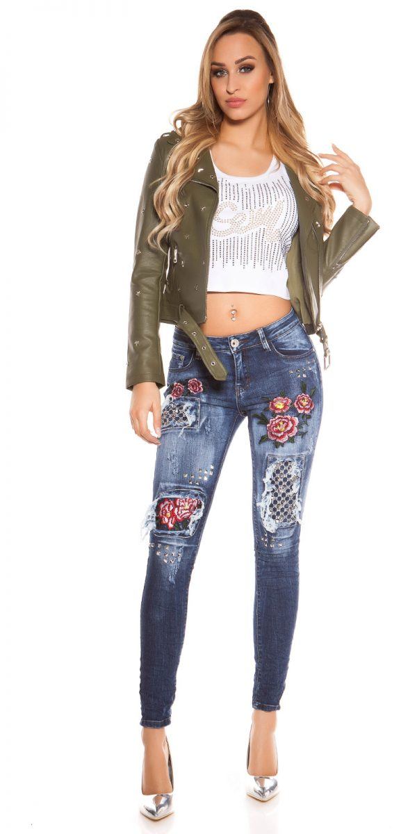 kkSkinny Jeans with Rivets and Embroidery Color JEANSBLUE Size 34 0000E1911 JEANSBLAU 10 1