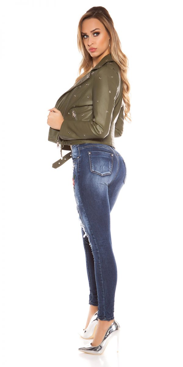 kkSkinny Jeans with Rivets and Embroidery Color JEANSBLUE Size 34 0000E1911 JEANSBLAU 11 1