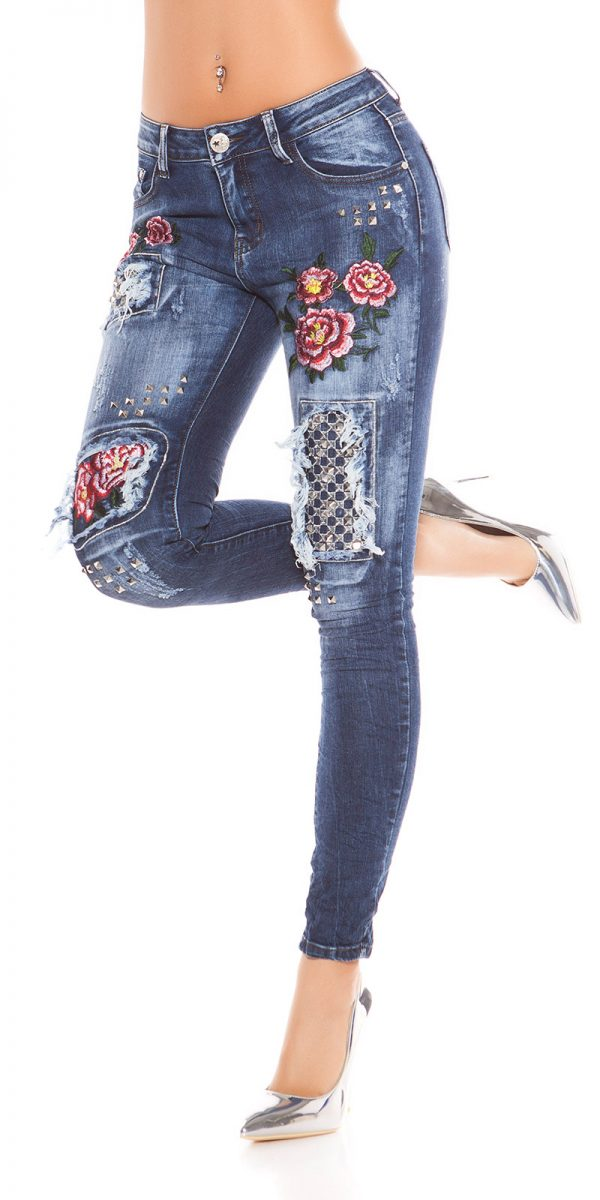 kkSkinny Jeans with Rivets and Embroidery Color JEANSBLUE Size 34 0000E1911 JEANSBLAU 12 1