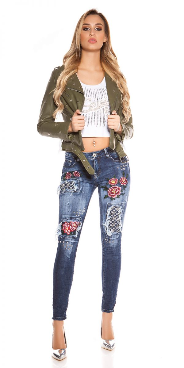 kkSkinny Jeans with Rivets and Embroidery Color JEANSBLUE Size 34 0000E1911 JEANSBLAU 13 1