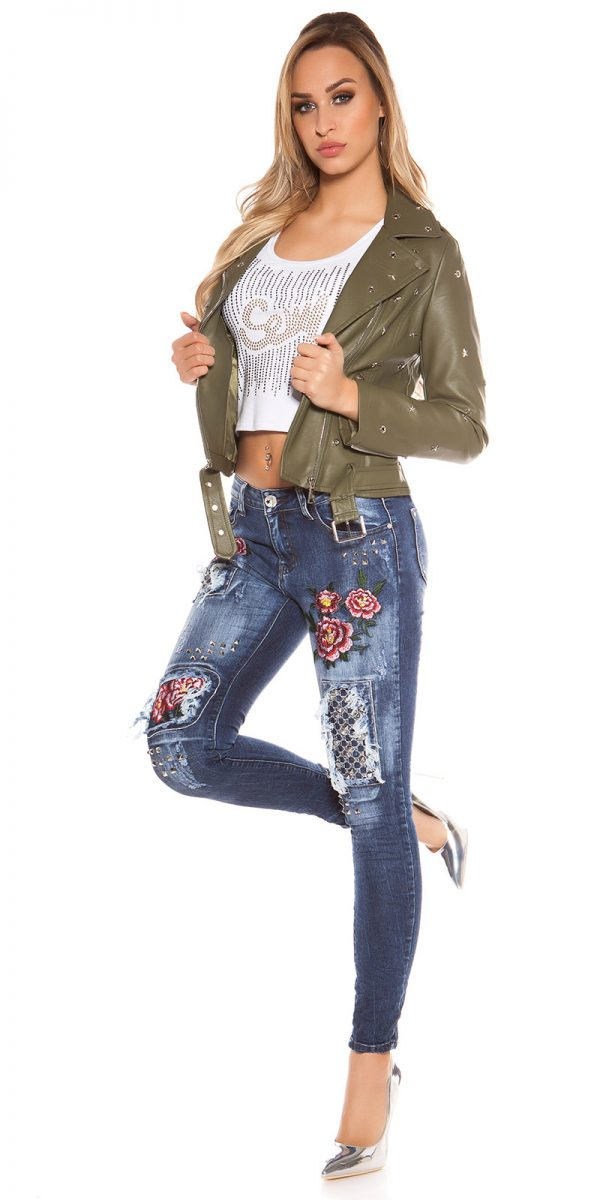 kkSkinny Jeans with Rivets and Embroidery Color JEANSBLUE Size 34 0000E1911 JEANSBLAU 4 1