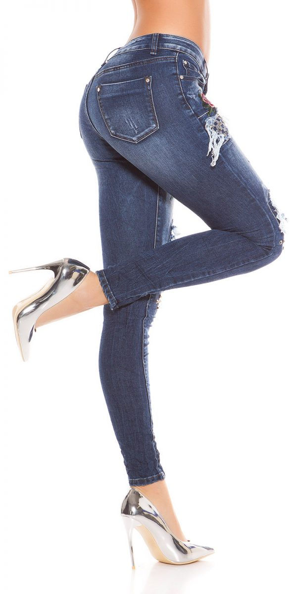 kkSkinny Jeans with Rivets and Embroidery Color JEANSBLUE Size 34 0000E1911 JEANSBLAU 5 1