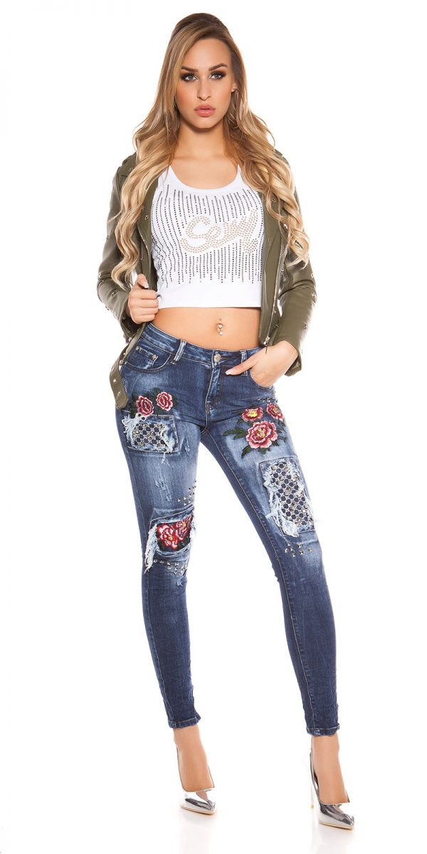 kkSkinny Jeans with Rivets and Embroidery Color JEANSBLUE Size 34 0000E1911 JEANSBLAU 6 1