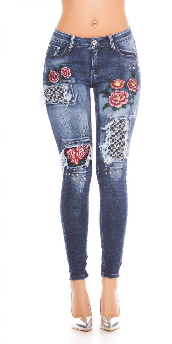 kkSkinny Jeans with Rivets and Embroidery Color JEANSBLUE Size 34 0000E1911 JEANSBLAU 9 1