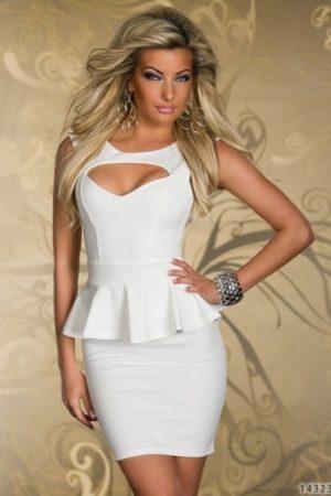 Šaty-kostým biely s vykrojeným dekoltom
