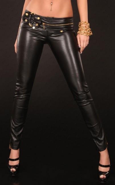 Dámske kožené nohavice čierne