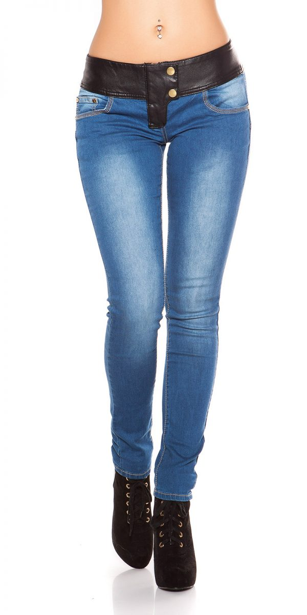 ooKouCla DarkWash Skinny Jeans with Letherlook Color JEANSBLUE Size 34 0000K600 294 JEANSBLAU 19