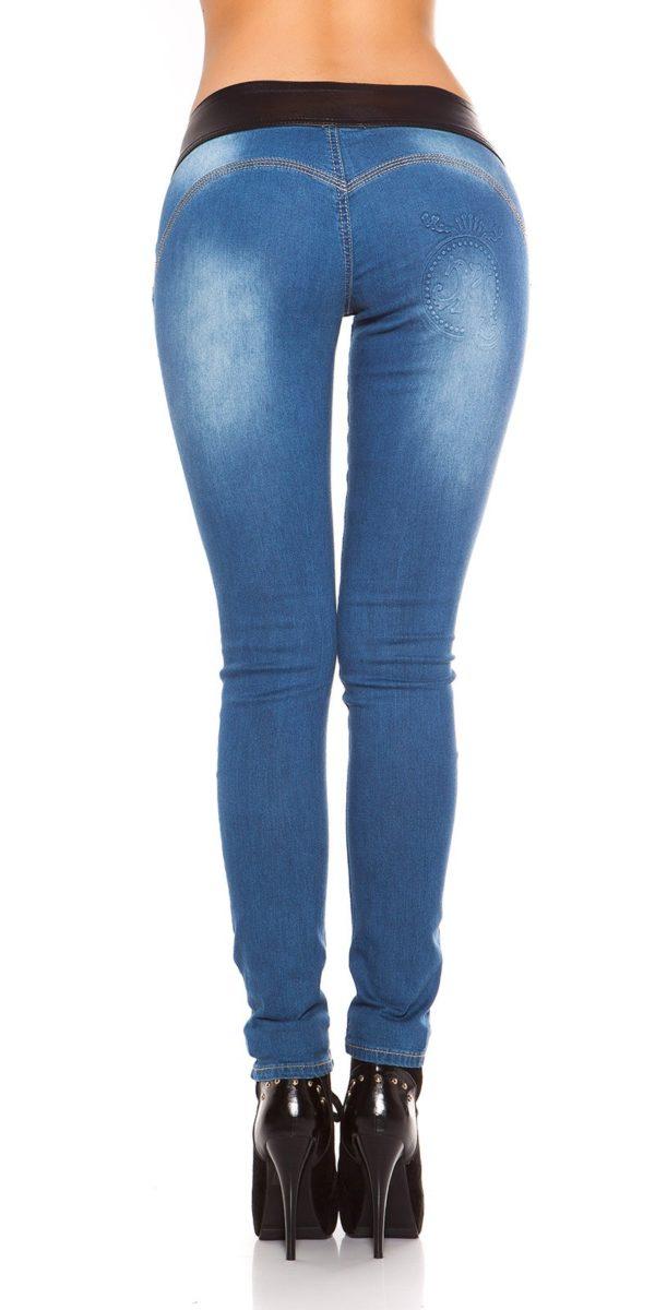 ooKouCla DarkWash Skinny Jeans with Letherlook Color JEANSBLUE Size 34 0000K600 294 JEANSBLAU 20