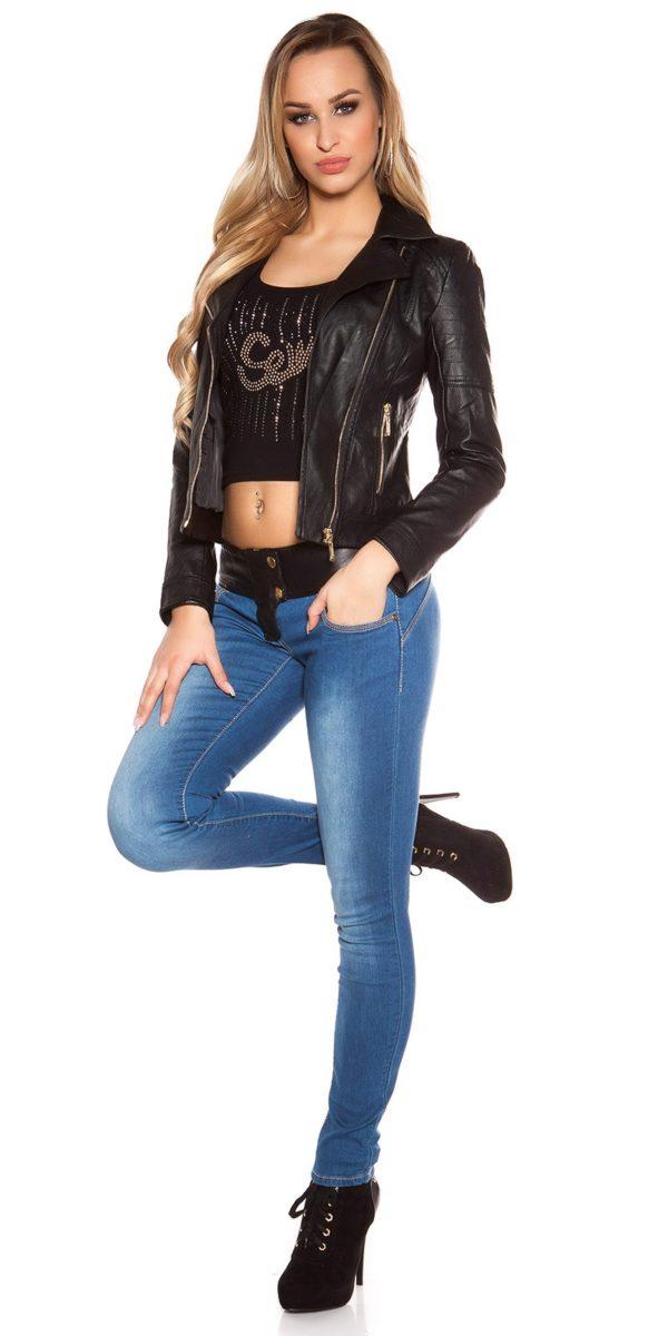 ooKouCla DarkWash Skinny Jeans with Letherlook Color JEANSBLUE Size 34 0000K600 294 JEANSBLAU 21