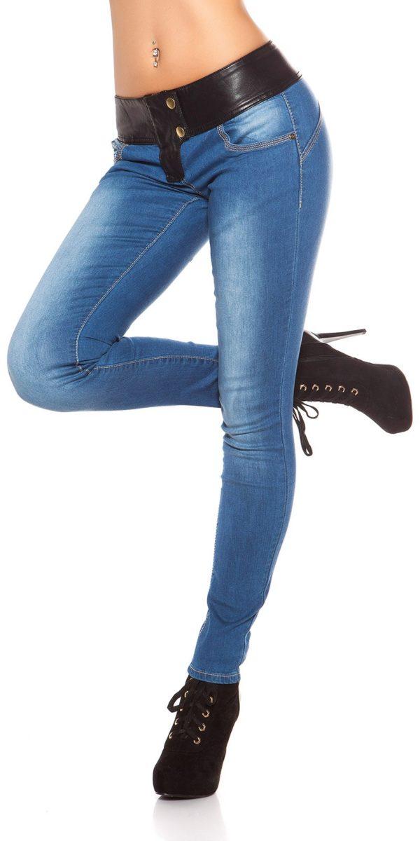 ooKouCla DarkWash Skinny Jeans with Letherlook Color JEANSBLUE Size 34 0000K600 294 JEANSBLAU 23