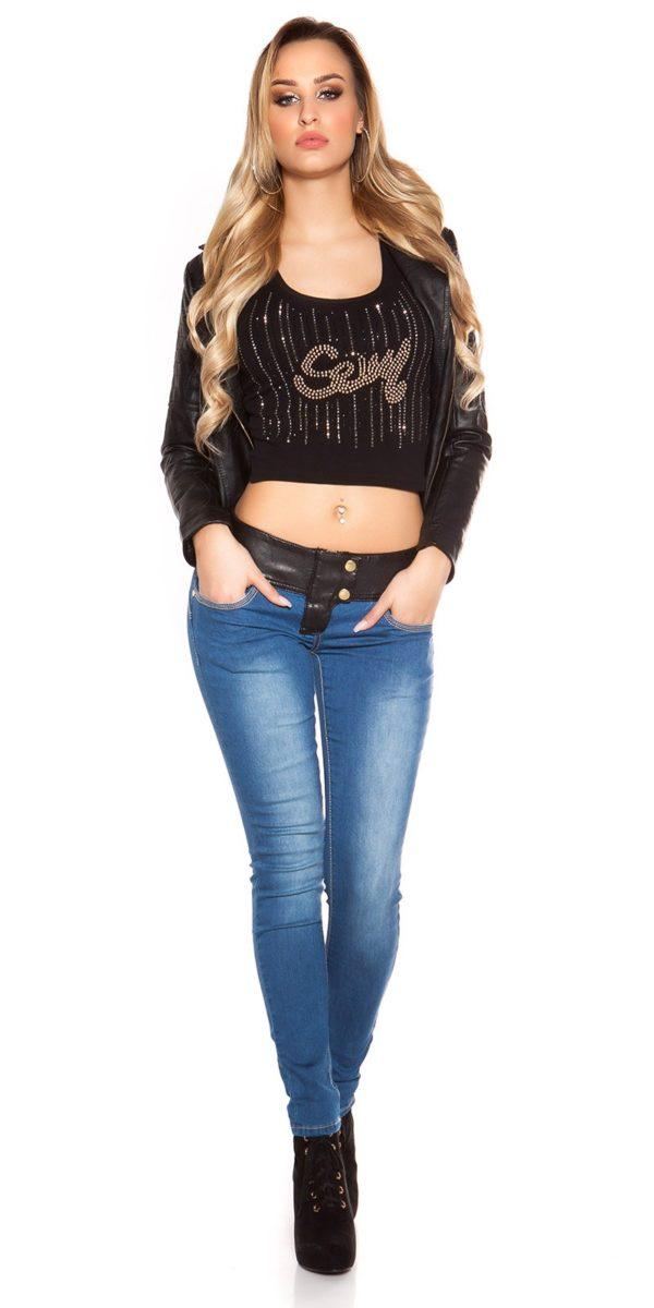 ooKouCla DarkWash Skinny Jeans with Letherlook Color JEANSBLUE Size 34 0000K600 294 JEANSBLAU 24