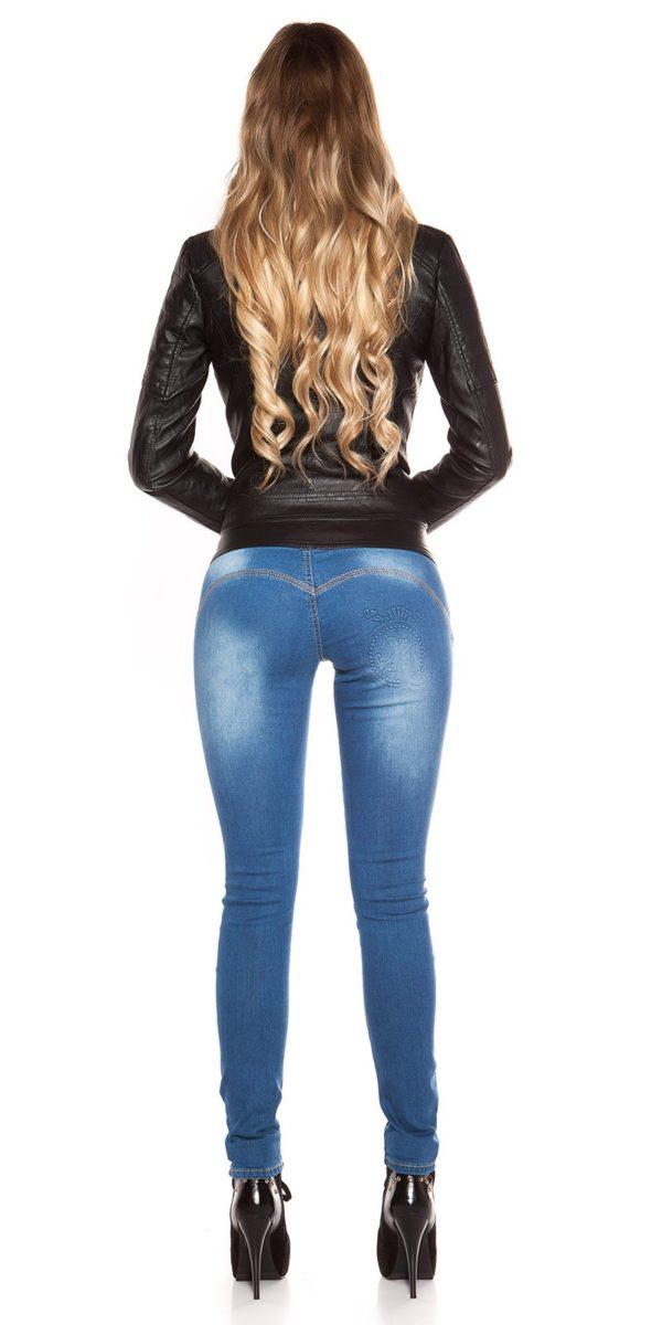 ooKouCla DarkWash Skinny Jeans with Letherlook Color JEANSBLUE Size 34 0000K600 294 JEANSBLAU 25