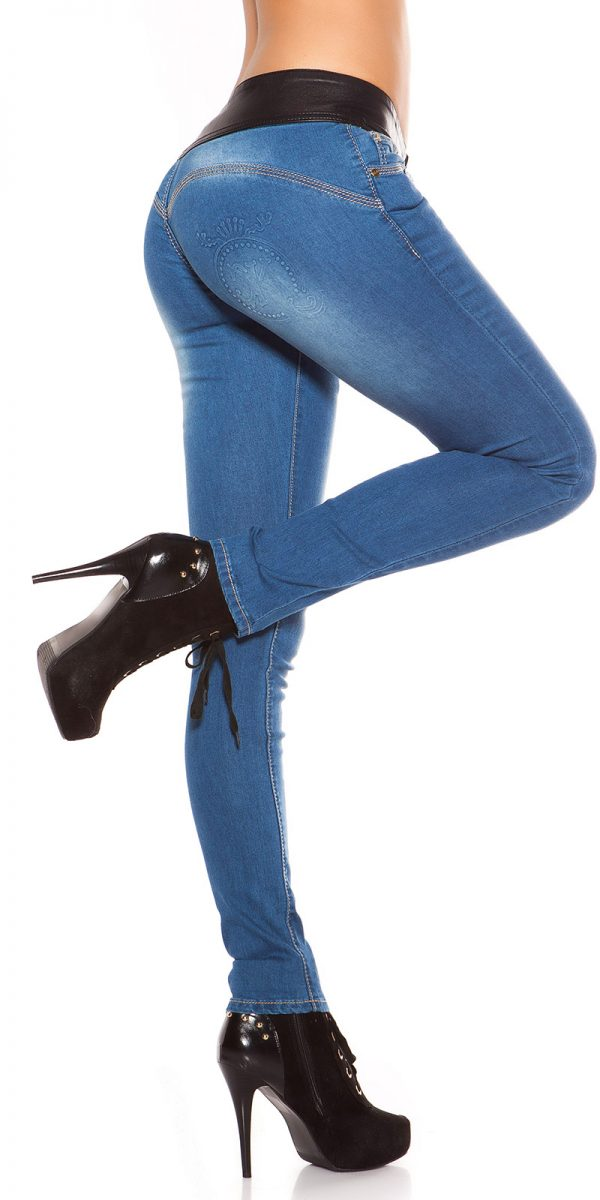 ooKouCla DarkWash Skinny Jeans with Letherlook Color JEANSBLUE Size 34 0000K600 294 JEANSBLAU 28