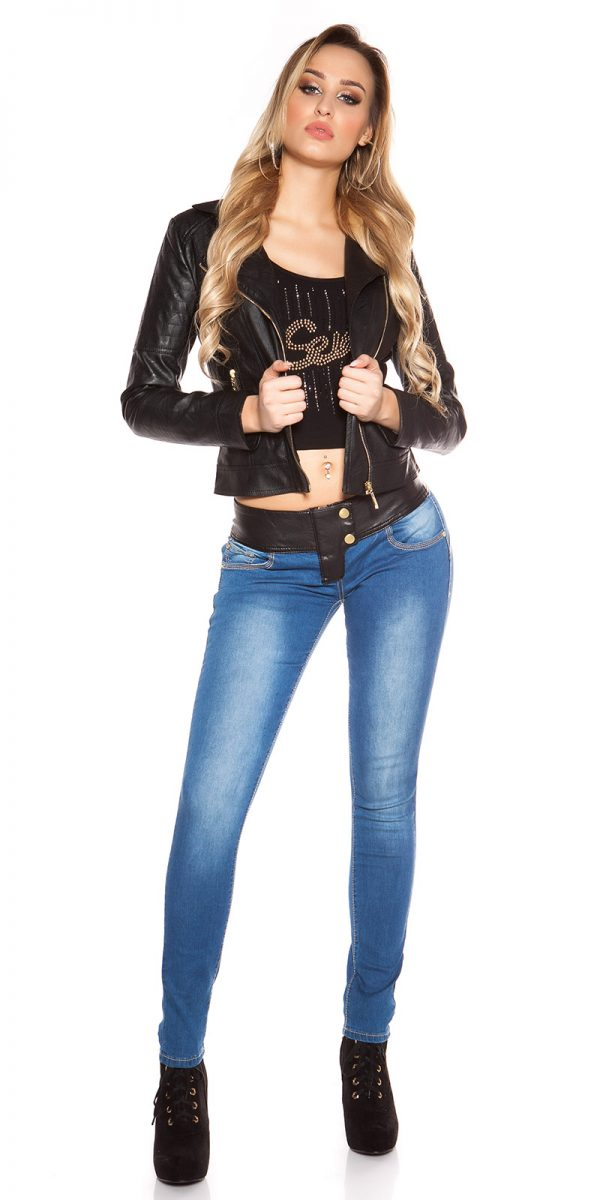 ooKouCla DarkWash Skinny Jeans with Letherlook Color JEANSBLUE Size 34 0000K600 294 JEANSBLAU 29