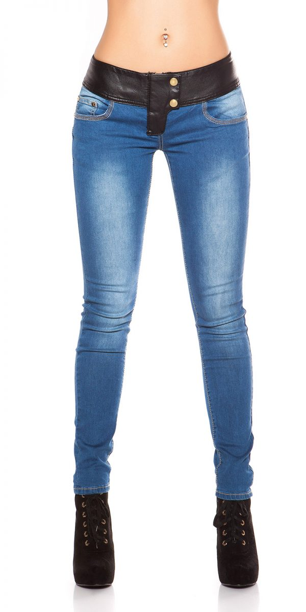 ooKouCla DarkWash Skinny Jeans with Letherlook Color JEANSBLUE Size 34 0000K600 294 JEANSBLAU 30