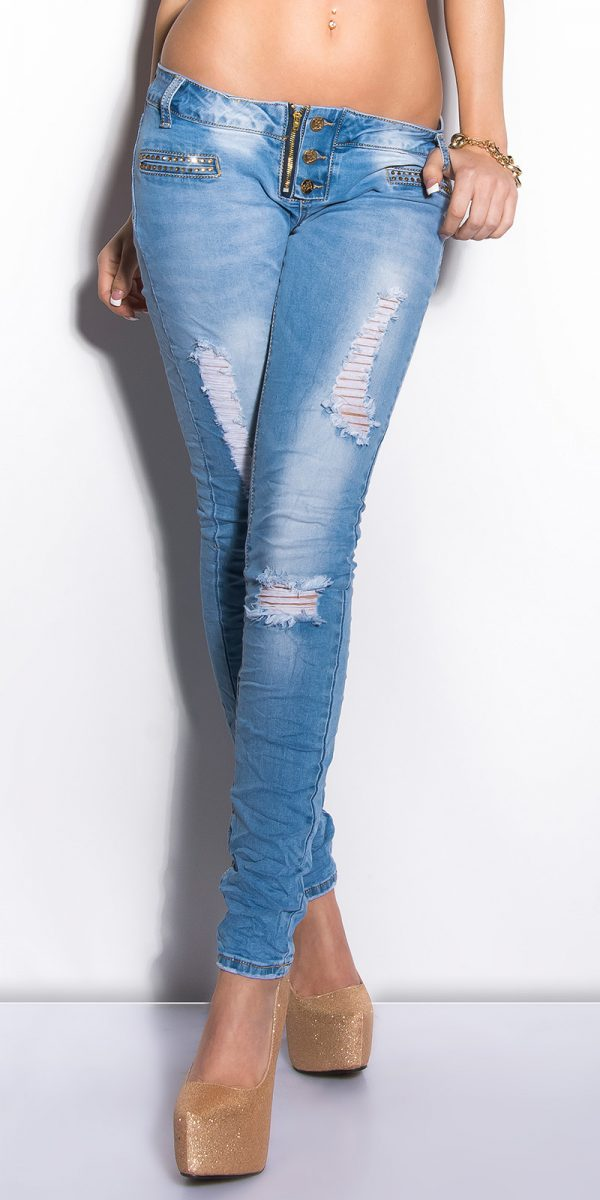 ooKouCla Skinnies with rhinestones Color JEANSBLUE Size 36 0000K600 134 JEANSBLAU 4 1