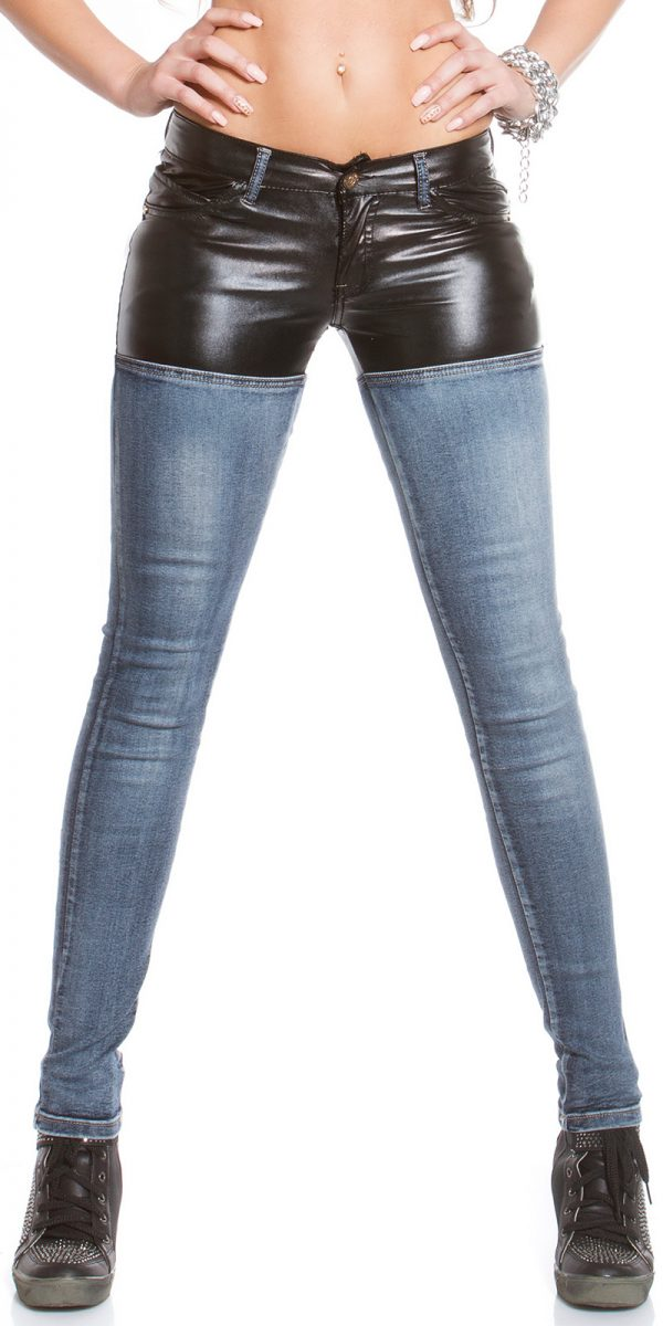 ooKouCla skinny jeans with leather look Color JEANSBLUE Size 36 0000K600 212 JEANSBLAU 19