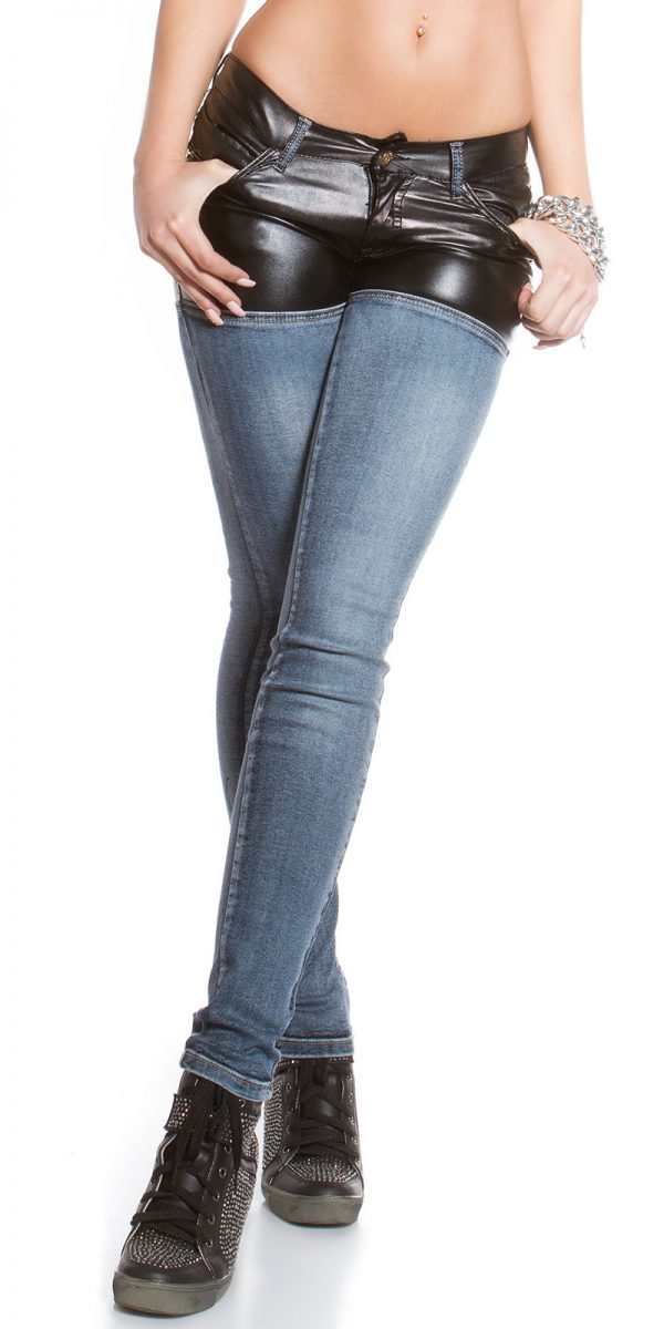 ooKouCla skinny jeans with leather look Color JEANSBLUE Size 36 0000K600 212 JEANSBLAU 2
