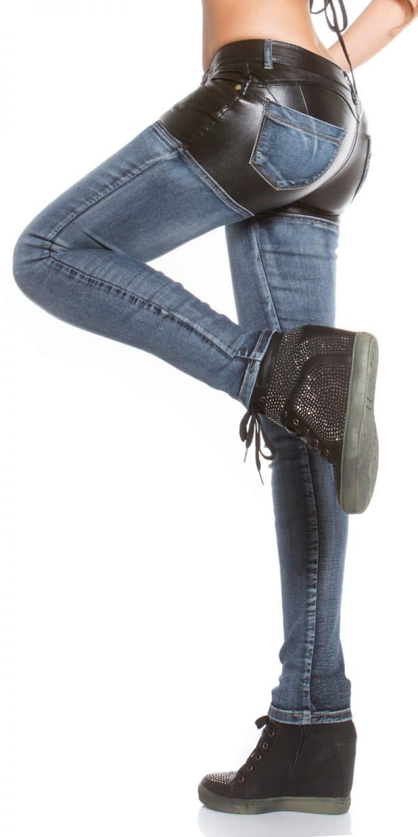 ooKouCla skinny jeans with leather look Color JEANSBLUE Size 36 0000K600 212 JEANSBLAU 5