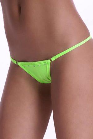 Plavkové tango nohavičky s kamienkami neónovo zelené