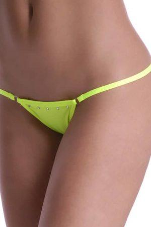 Plavkové tango nohavičky s kamienkami neónovo žlté